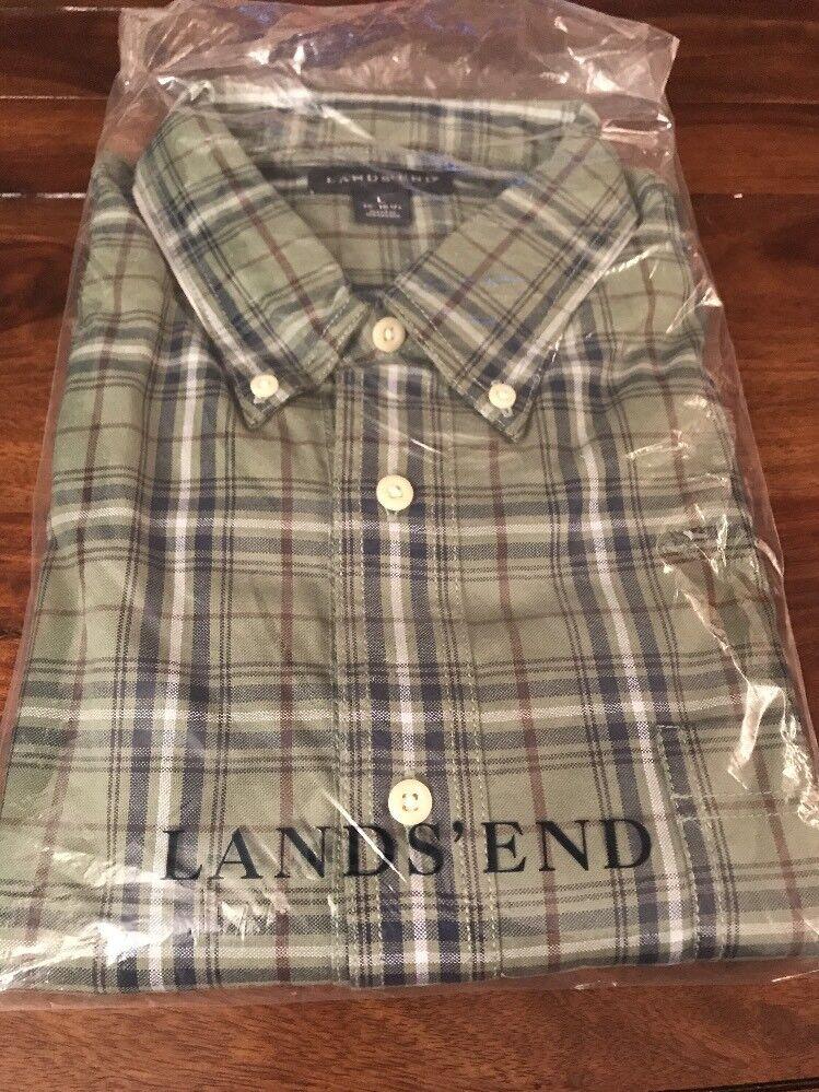 NWT Men's Land's End Plaid Button Down Shirt- Size L (16-16 1 2)