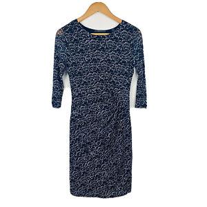 Esprit-Womens-Dress-Size-Medium-Blue-White-Sheath-Dress-3-4-Sleeve-Stretchy