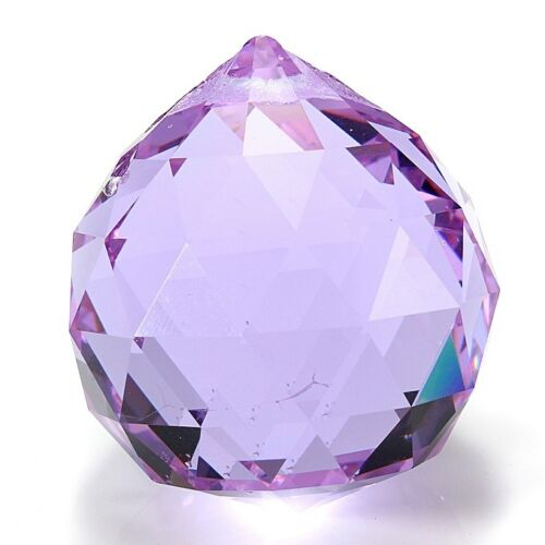 Purple Crystal Hanging Faceted Ball Prism Suncatcher 40mm