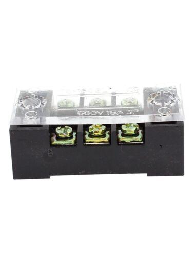 10 Pcs Dual Row 3 Position Screw Terminal Block Strip 600V 15A w Cover