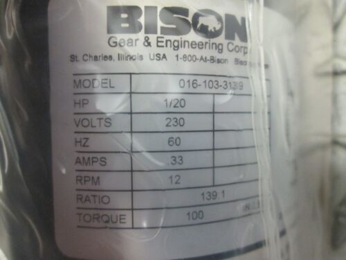 BISON GEAR MOTOR 016-103-3139 SERIES 100 230V 12 RPM 139:1 RATIO 1//20 HP