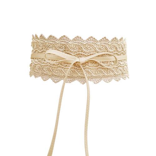 Women/'s Vintage Lace Up Stretch Waist Belt Wide Leather Elastic Corset Waistband