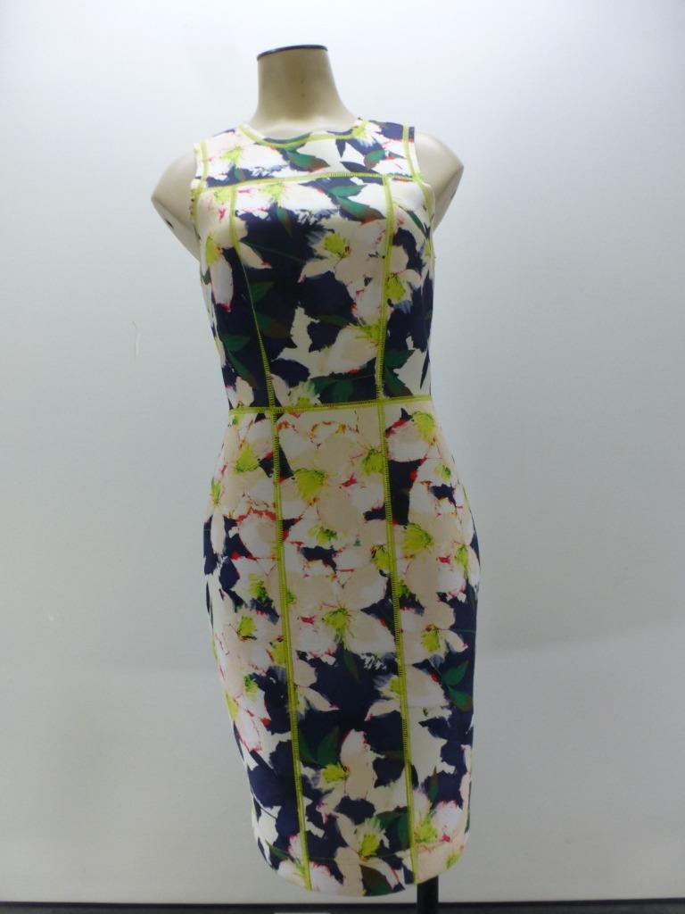 J CREW  169 Dress Womens sz 0 Cove Floral Surf Print Scuba Sleeveless Sheath EUC