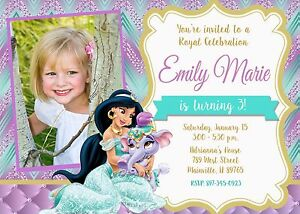Image Is Loading Princess Jasmine Aladdin Birthday Party Invitation