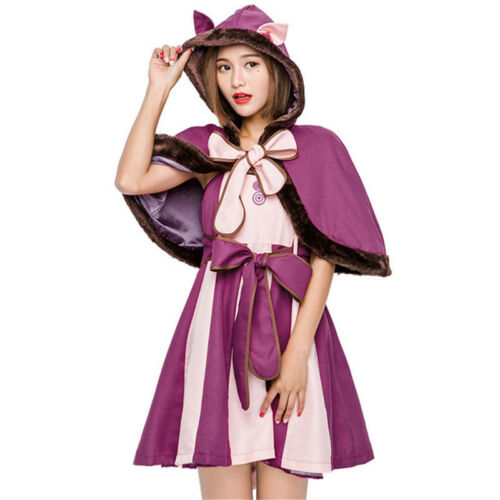 Alice In Wonderland Cheshire Cat Cosplay Costume Fancy Dress Suits For Kid/&Adult
