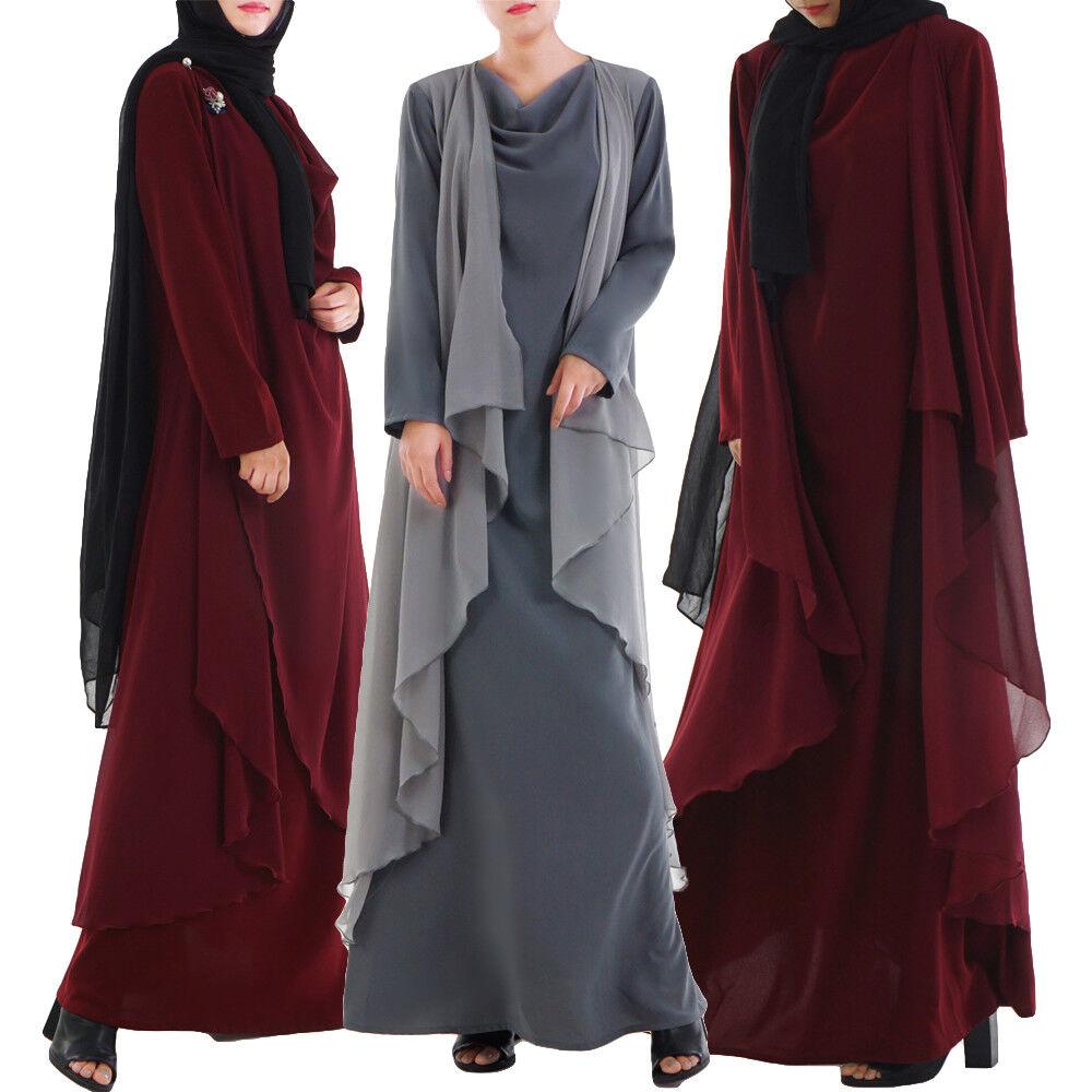 Vintage Muslim Women Robe Abaya Long Maxi Dress Loose Dubai Kaftan Jilbab Gowns