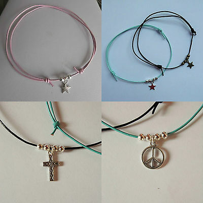 LEATHER anklet star ANKLE CHAIN charm bronze silver ADJUSTABLE blue purple pink