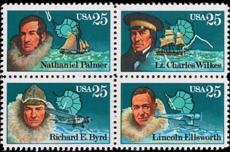 1988 25c Antarctic Explorers, Block of 4 Scott 2386-89