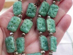 Vintage Art Deco 1930 Czech Glass Necklace carved floral panels Jade ? Neiger ?