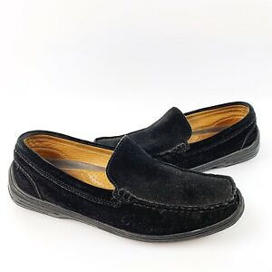 tommy bahama mens black suede leather driving loafers