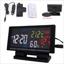 12V Digital Car LCD Alarm Clock Voltage Thermometer Hygrometer Weather Forecast