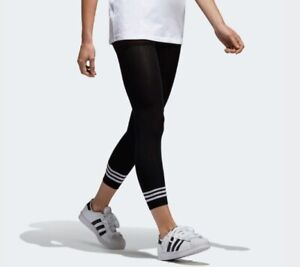 adidas-Originals-Women-039-s-3-Stripe-Premium-Black-Knit-Fitness-Leggings-BR9623