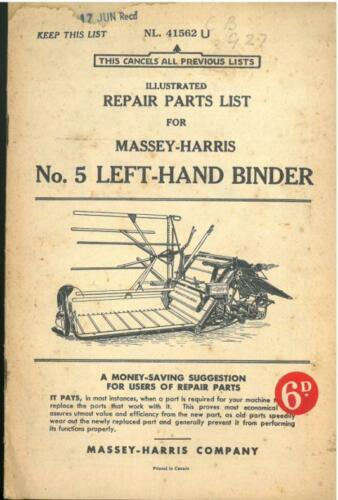 Massey Harris No.5 Left-Hand Binder Parts Manual