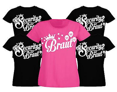 Junggesellinnenabschied T-Shirt Junggesellenabschied Security Braut Damen JGA xx