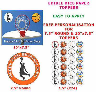 Personalised Basketball Player Birthday Cake//Cupcake Toppers On Rice Paper
