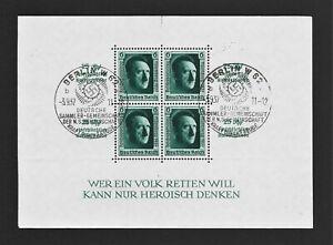 DR WWII Germany RARE WW2 STAMP Hitler FuhrerBlock №11 Swastika Eagle Overprint