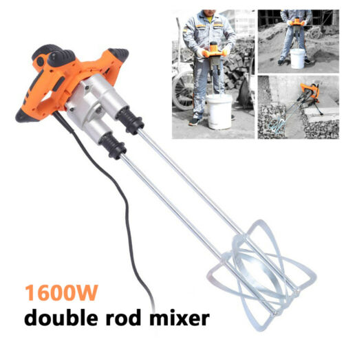 1600W Mortar Mixer Plaster Concrete Paint Stirrer High and Low Gears Speed 110V