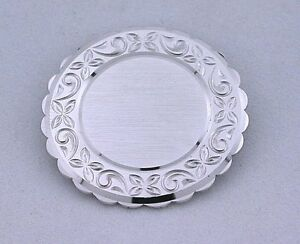 .925 Pure Sterling Silver Round Vintage Lamode Brooch Brooche Pin ebs5438