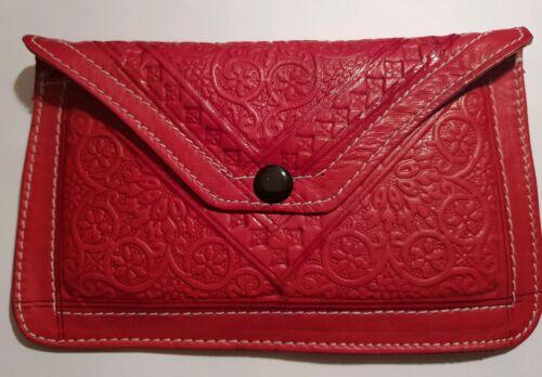 Pochette in Pelle Marocchina wallet rosso fatto a mano design di grandi dimensioni 2