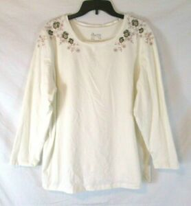 New-Denim-amp-Co-Embroidered-Shirt-Ivory-Sz-1X-Long-Sleeve-Pull-On-Women-XM4