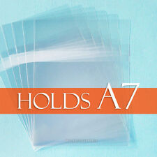 "100 Clear Cello Bags 5 7/16"" x 7 1/4"" inch for A7 Card + Envelope, BODY Adhesive"