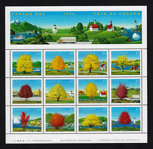 Canada-Stamps-Full-Pane-of-12-Canada-Day-Maples-Trees-1524-MNH
