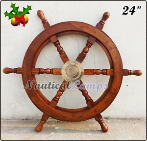 "Antique Brass Wooden Ship Wheel Pirate Hub 24"" Decorative Collectible Nautical"