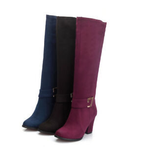 Women-Knee-High-Boots-Chunky-Heels-Buckle-Strap-Zipper-Casual-Suede-Shoes-Bootie