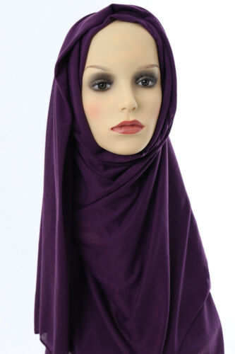 Head Scarf Hijab Large Headscarf Jersey Plain Muslim Islam Head Cover Drk Purple