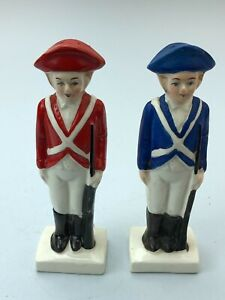 """Vintage Porcelain Guard Salt And Pepper Shaker Figurine Japan Made 5.5"""" Tall"""