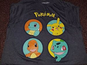 19cc80b4 Image is loading Pokemon-Pikachu-Squirtle-Charmander-Bulbasaur-T-shirt-Gray-