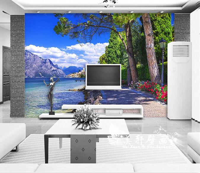 3D Arbres Rivière 7 Photo Papier Peint en Autocollant Murale Plafond Chambre Art