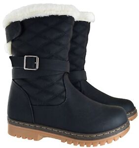 LADIES-WOMENS-WINTER-WARM-GRIP-SOLE-SNOW-QUILTED-LOW-CALF-FUR-BUCKLE-BOOTS-SIZE