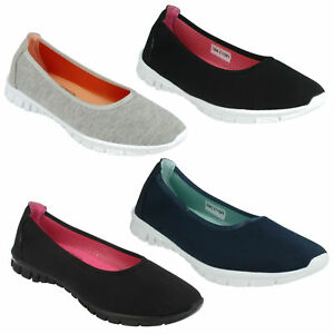 LADIES SPOT ON F80113 SLIP ON LIGHTWEIGHT ROUND TOE TRAINERS SPORTY CASUAL SHOES