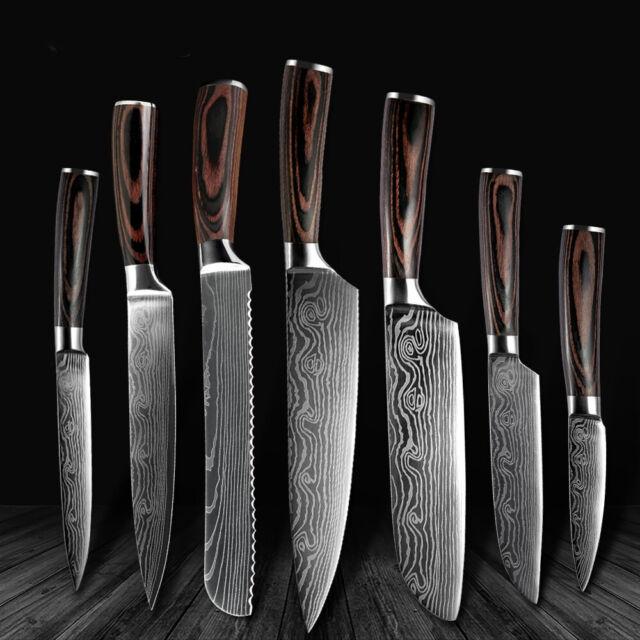 7 Kinds Of Kitchen Knife Set Knive Sharper Holder Ergonomic Stand Blade Chef For Sale Online Ebay
