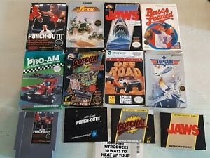Original Nintendo Game Boxes Lot, W/ Mike Tyson's Punch Out game, Authentic NES
