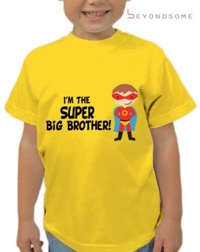 BOYS SUPERHERO IM THE SUPER BIG BROTHER KIDS T-SHIRT T SHIRT FUN GIFT AGES 1-12