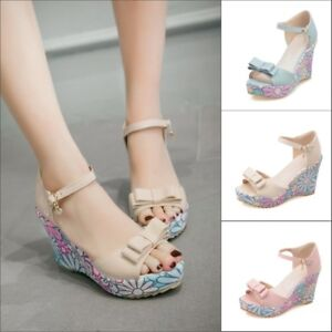 Womens Floral Wedge High Heels Bows Peep Toes Ankle Strap Sandals Casual Shoes