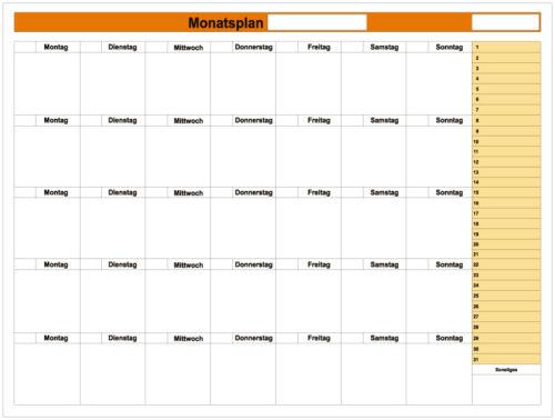 Plantafel Monatstermine Gruppenplan Whiteboard Monatsplaner 80 x 60cm