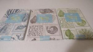 Vinyl-Tablecloth-Flannel-Back-Seashells-Blue-Green-Brown-Upick-Spring-Summer-NEW