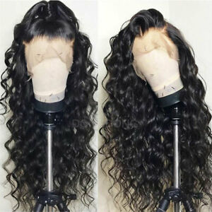 100-Pervian-Virgin-Remy-Human-Hair-Wig-360-Lace-Frontal-Wigs-Black-Curly-Wavy-H