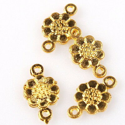 500pcs Nice Charms Gold Plated Alloy Flower Connector Pendant Jewelry Findings J