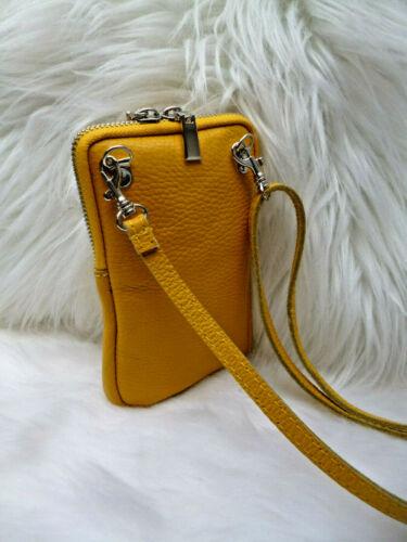 Tasche Handytasche Smartphone Handtasche Mini Umhängetasche Leder gelb NEU