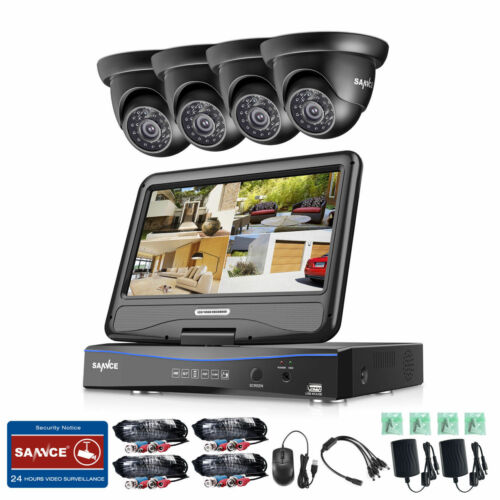 SANNCE 1080N LCD Monitor 4CH DVR 1500TVL IR Security Camera System Email Alarm