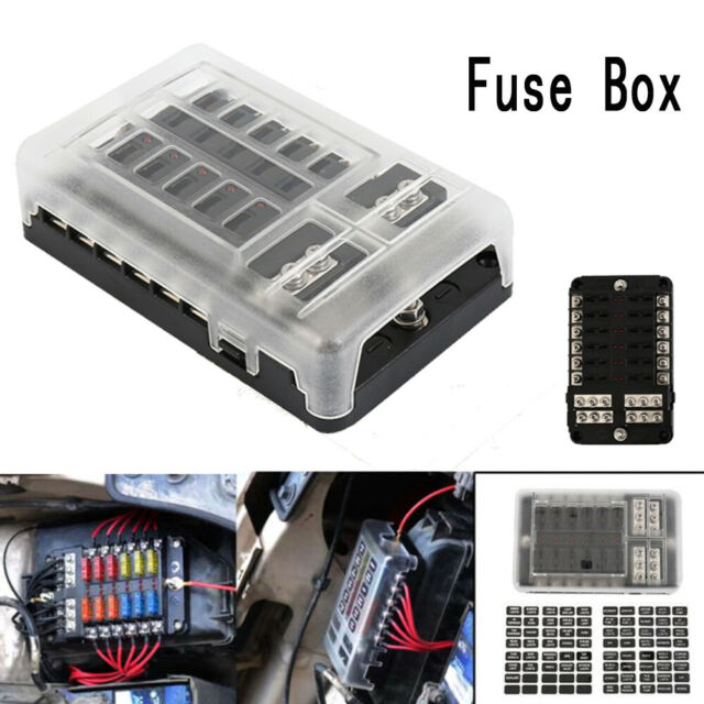 blade fuse box 12 way blade fuse holder box block case for car boat marine bus  12 way blade fuse holder box block case