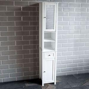 Image Is Loading Milano Tall Bathroom Cabinet Mirrored Door Cupboard Storage