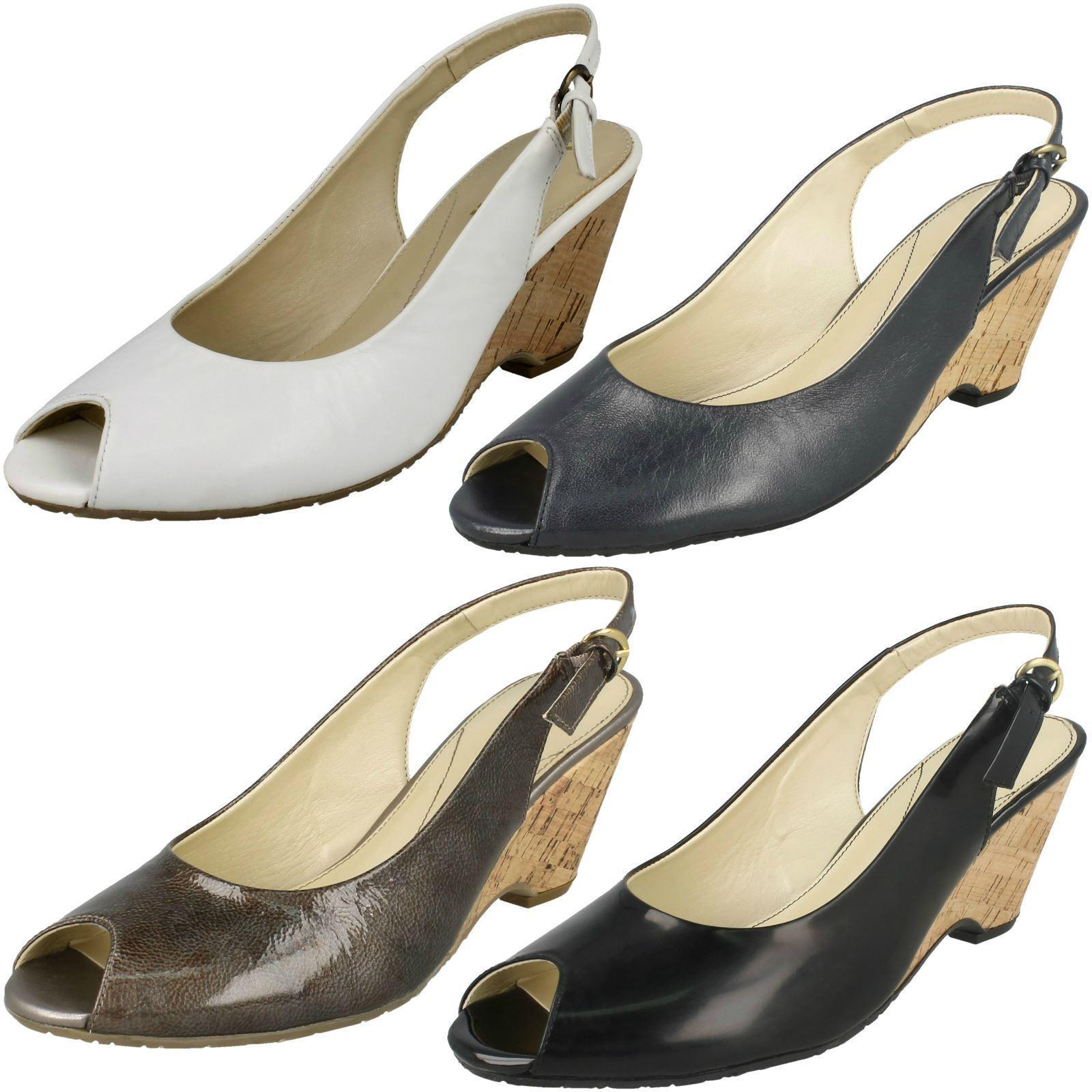 Damen Metall Feature Sling van dalwedge Peeptoe Absatz Schuhe / Sandale Cadiz