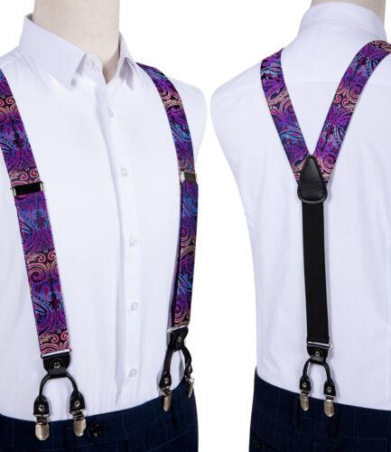 Purple Paisley Mens Suspenders Clip On Braces Pretied Bowtie Hanky Cufflinks Set