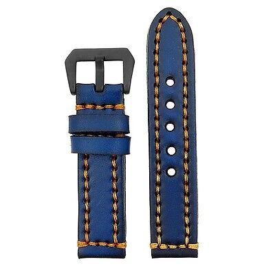 StrapsCo Vintage Leather Watch Band Contrast Stitching w/ Black Pre-V Buckle
