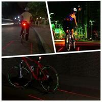 Red Diamond Bicycle Bike Waterproof Rechargeable Led Laser Flashing Tail Light